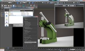 Animação vinda do Autodesk INventor dentro do 3ds Max. Não é necessário fazer o Rigging: a animação vem pronta como baked Animation.